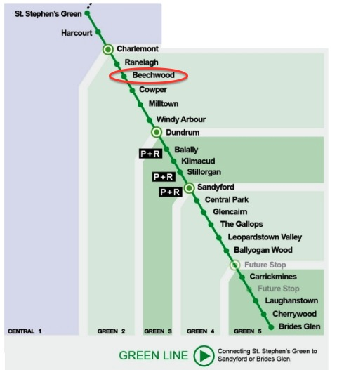 Luas-green-line-map